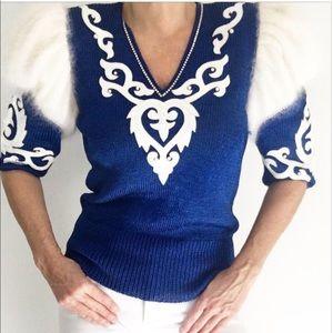 ✨Vintage Angora Leather Knit Sweater✨
